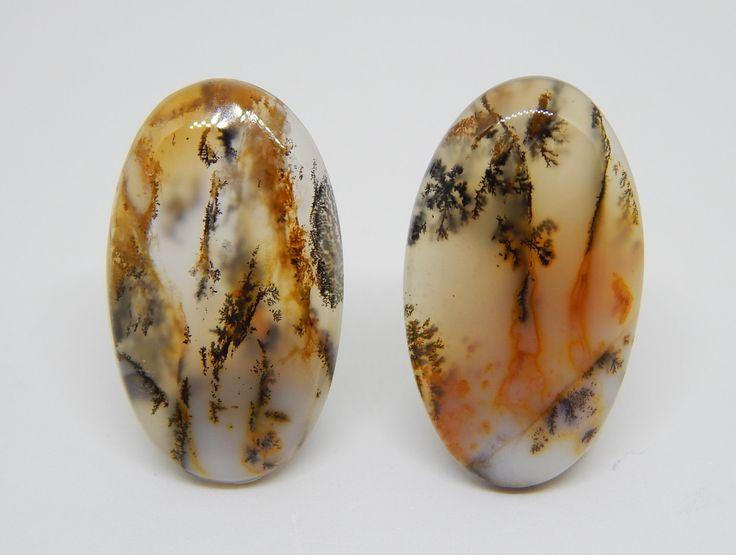 27 x 16 mm Agata dendritica coppia. Agata dendritica orecchini. Coppia cabochon. Set for earrings. Set cabochon. di HELGASHOP su Etsy