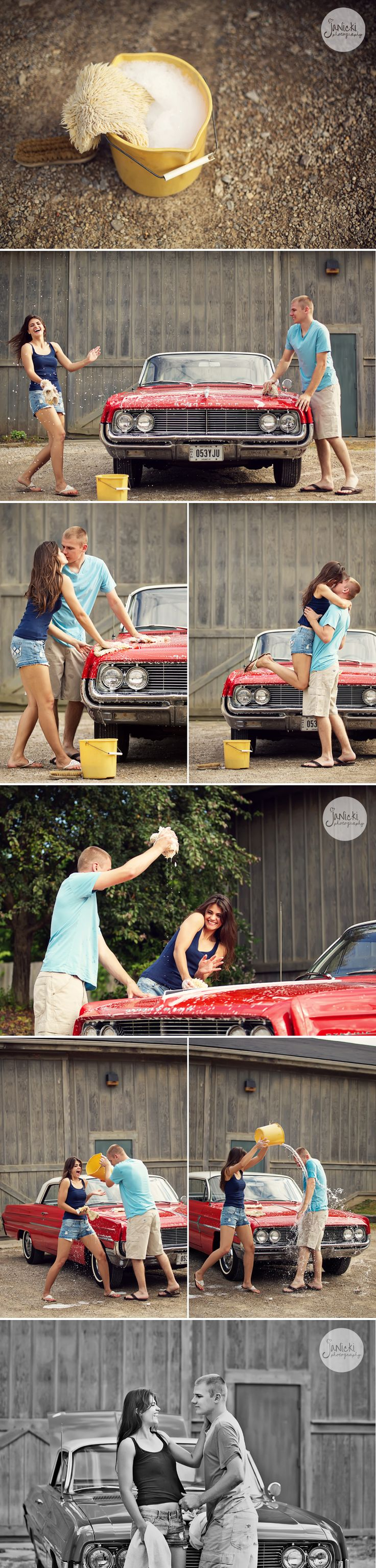 styled car wash engagement photo session...i love this cuz it is pretty much our life