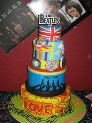 Beatles Birthday Cake.  Chocolate cake with chocolate filling and chocolate chips inside.