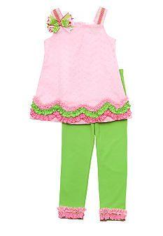 Rare Editions Pink Eyelet Capri Set Toddler Girls