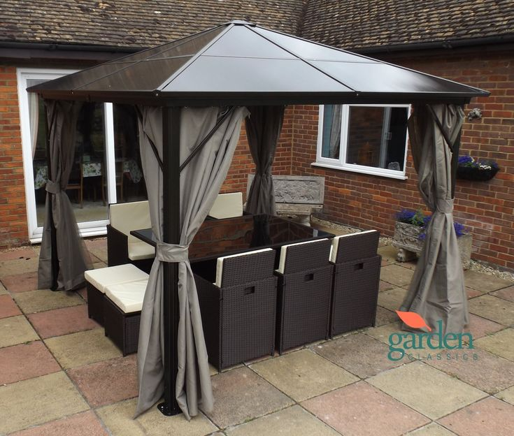 Luxury Swanbourne garden party Gazebo Hardtop Smoked Polycarbonate roof, 3m x 3m, privacy sides & mosquito nets, Suitable for Hot tubs.
