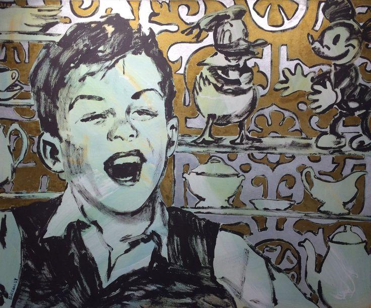 Boy with Mickey & Donald (acryllic on canvas) David Bromley