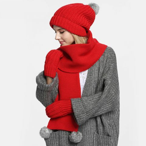da64dbe1791 Red knit hat scarf and gloves set with pom pom as Christmas gift for women