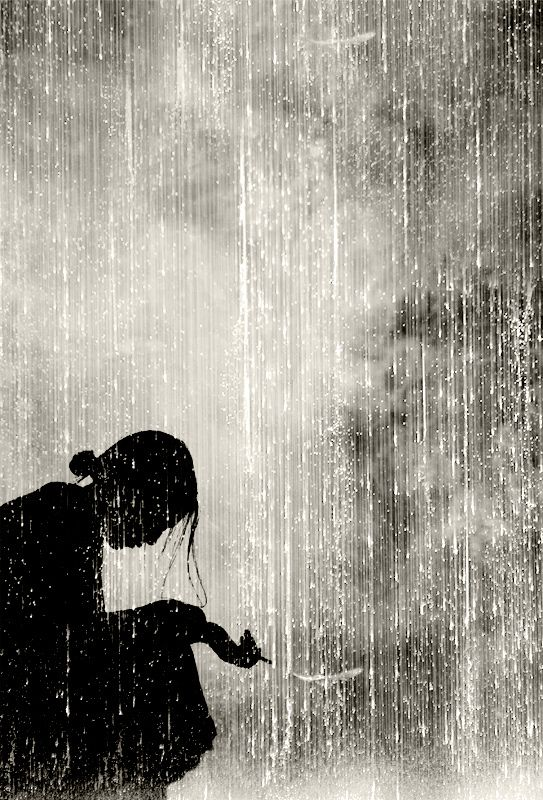 Metin DEMIRALAY...digital art/coneptual..this makes me feel sad..like she is thinking so hard or need peace, like crying in the rain..but I love the picture