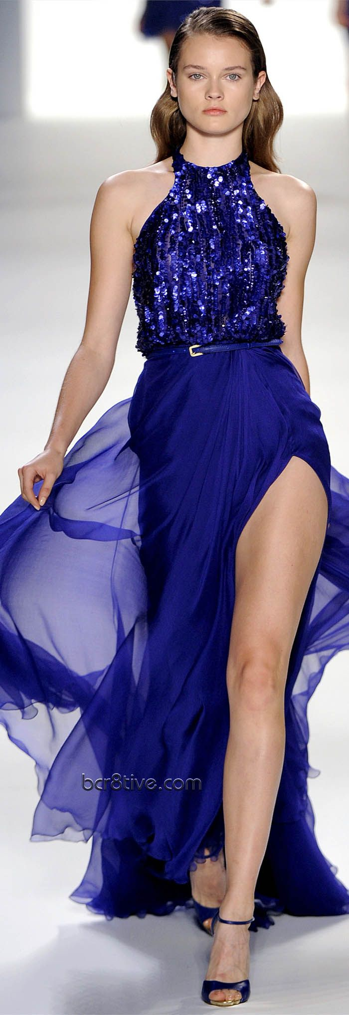 Elie Saab Spring Summer 2012 Ready to Wear - ideas - halter sequin top, belt sinches at waist, satin bottom, thigh high, bright color