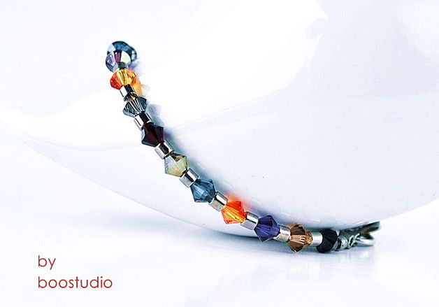 Swarovski bicone bracelet - ZIP MULTICOLOR - bransoletka wykonana z kryształków SWAROVSKIEGO - BICONE w kilku kolorach i japońskich, szklanych koralików MIYUKI, z posrebrzanym zapięciem.