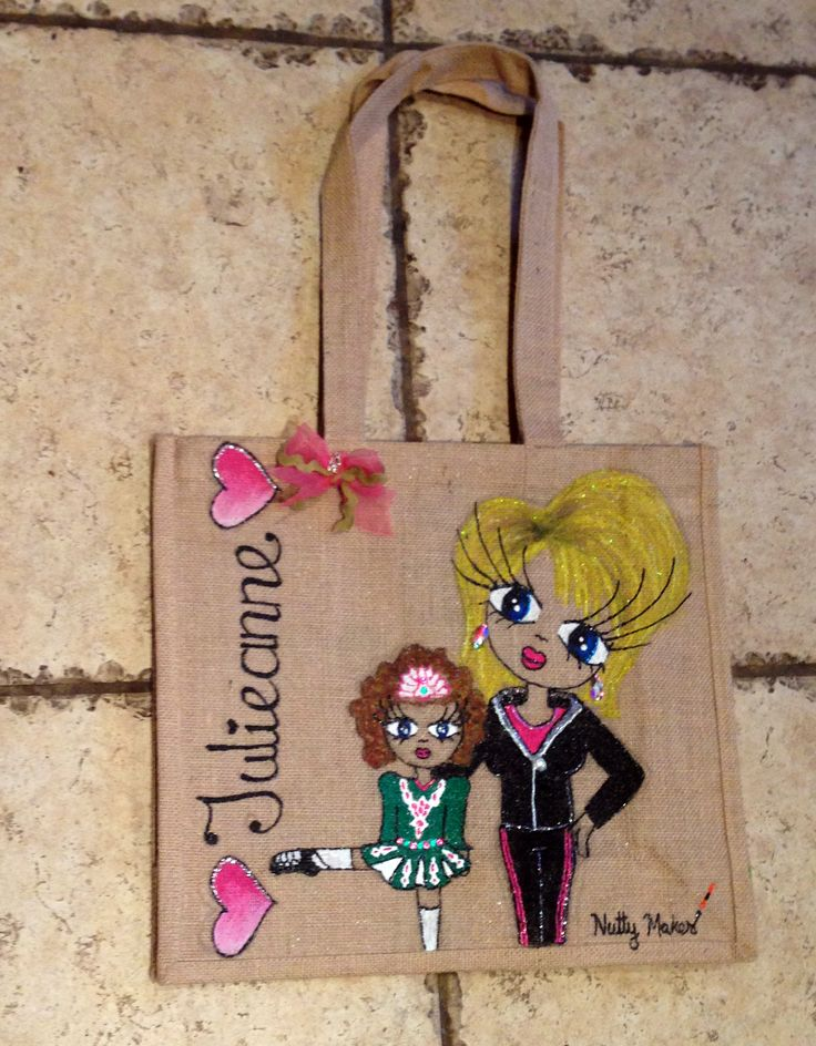 Julieanne! Large #handmade #jute tote bag, one off #design for Reynold #Dance Academy. For a design representing your #business please send an email to hazel.okeeffe@mycit.ie