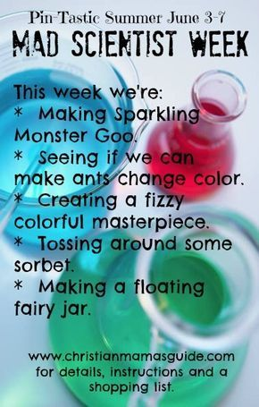 5 fun, educational summer activities: The theme and shopping week for Pin-Tastic Summer's first week: Mad Scientist Week. Go shopping and come back on June 3rd for instructions.