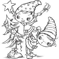 Christmas Tree Elves - Stampendous - Tree Trim Kiddo