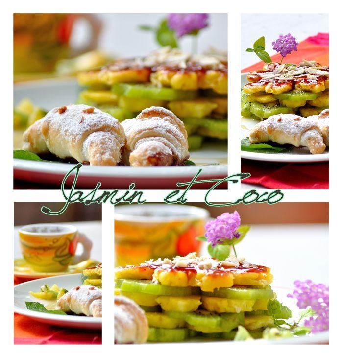 Fruits macedonia with mini croissants
