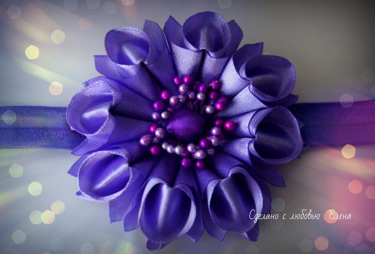 Flower Kanzashi Master Class hand made DIY Tutorial Канзаши МК Новая зеф...