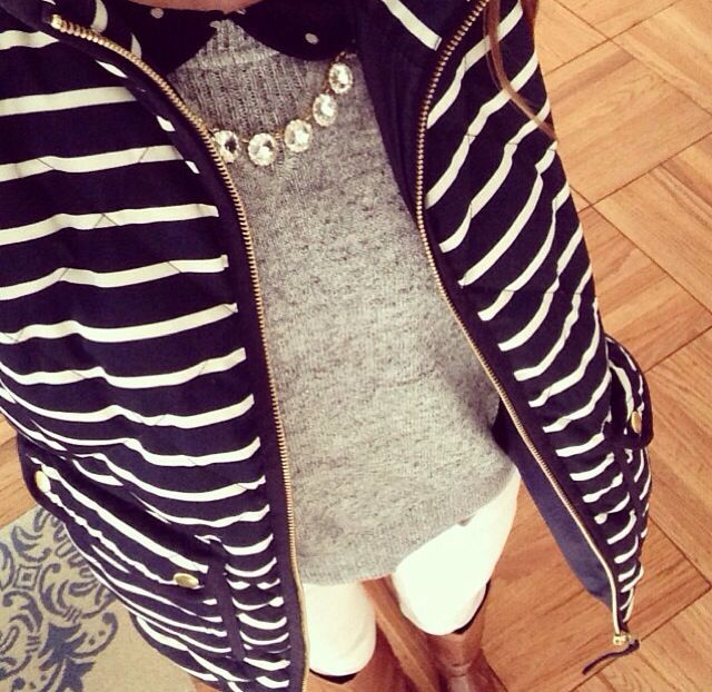 Striped vest + grey sweater + white jeans