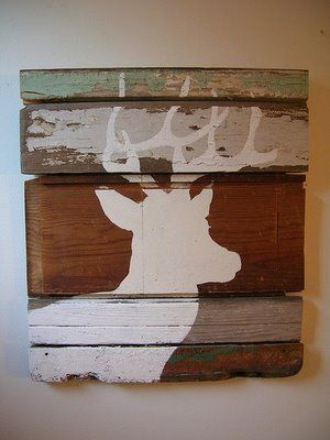 one stencil on separate panels -  rustic wood panels