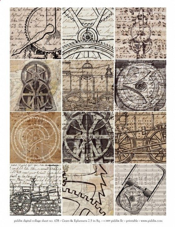 Steampunk 2.5-inch squares, gears drawings, hand writing, beautiful
