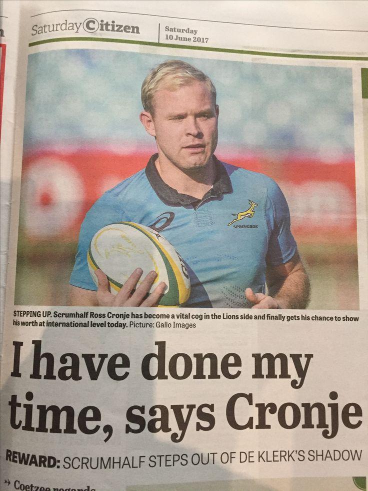 Ross Cronje. Springbok. Citizen Newspaper Sat 9 June 2017