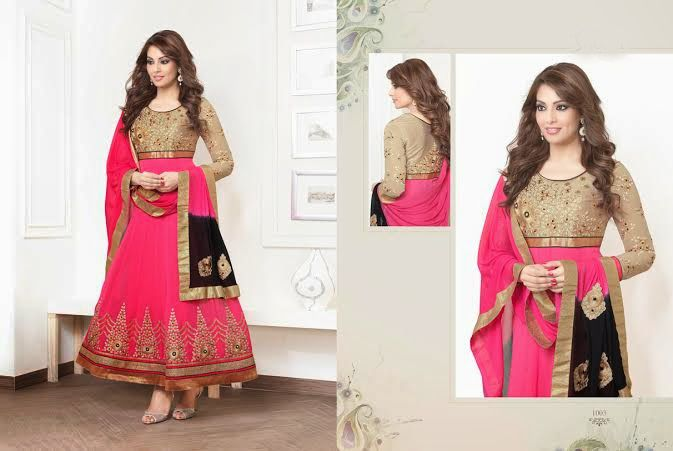 Beautiful Pink and Golden colored Georgette anarkali With heavy work of embroidery en-crafted in Golden all over with Golden sleeves. Matching Shantoon Bottom and Pink and Black Chiffon Duppatta with Golden border and fine work of embroidery included.
