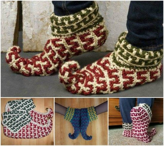 Knitting Pattern For Baby Elf Shoes : Crochet & Knitted Elf Slippers Patterns, On and Crochet