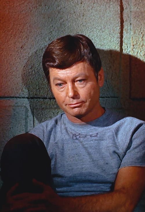 DeForest Kelley was the oldest member of the TOS crew.  He described himself as shy and the only cast member to not engage in feuds with the others, as well as the only one not to write a memoir.  Even though he never attained the same fame as Shatner & Nimoy, he was thankful that he was the only one of the three to stay married.  <3  (source, wikipedia)