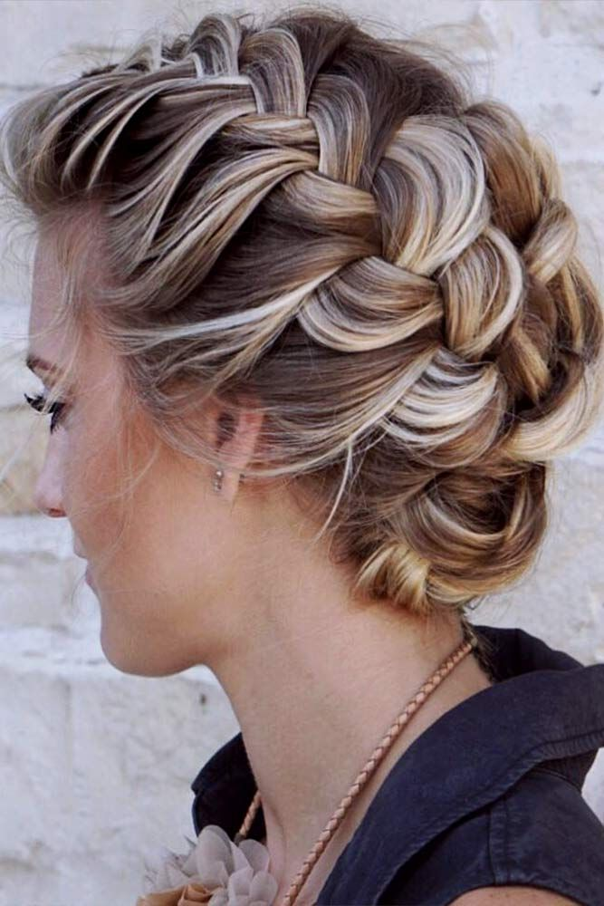 Beautiful Braided Updo Braidedhairstyles Updohair Cute And Easy Shoulder Length Hairstyl Braided Hairstyles Updo Thick Hair Styles Medium Womens Hairstyles