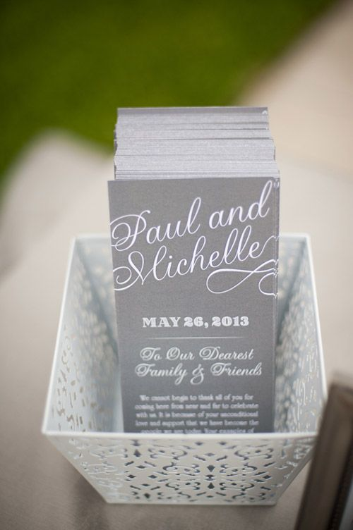 Sweet message to friends and family in gray and white color palette - by Lisa Stoner and Abby Liga Photography | via junebugweddings.com