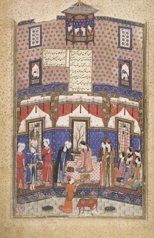 The Sculptor Farhad Brought before the Princess Shirin, from a manuscript of Khusraw and Shirin by Nizami (d. 1209) early 15th century - Timurid period:: Ink, opaque watercolor and gold on paper H: 27.3 W: 16.5 cm, Tabriz, Iran