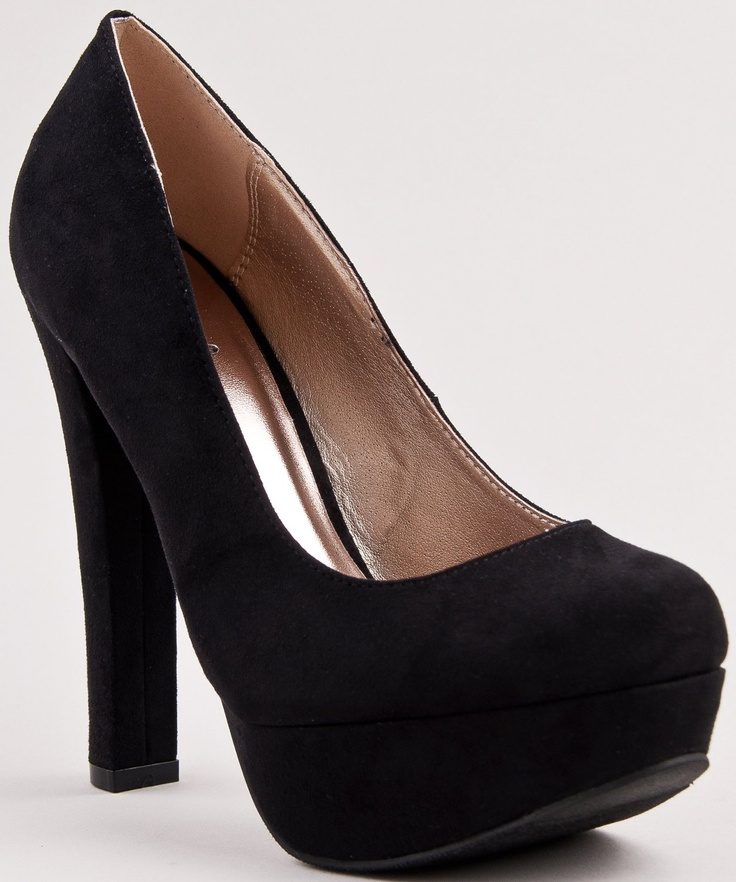 Black Chunky Heel Pumps