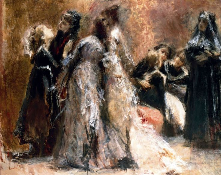 """Tranquillo Cremona (1837-1878) """"La visita al collegio"""""""