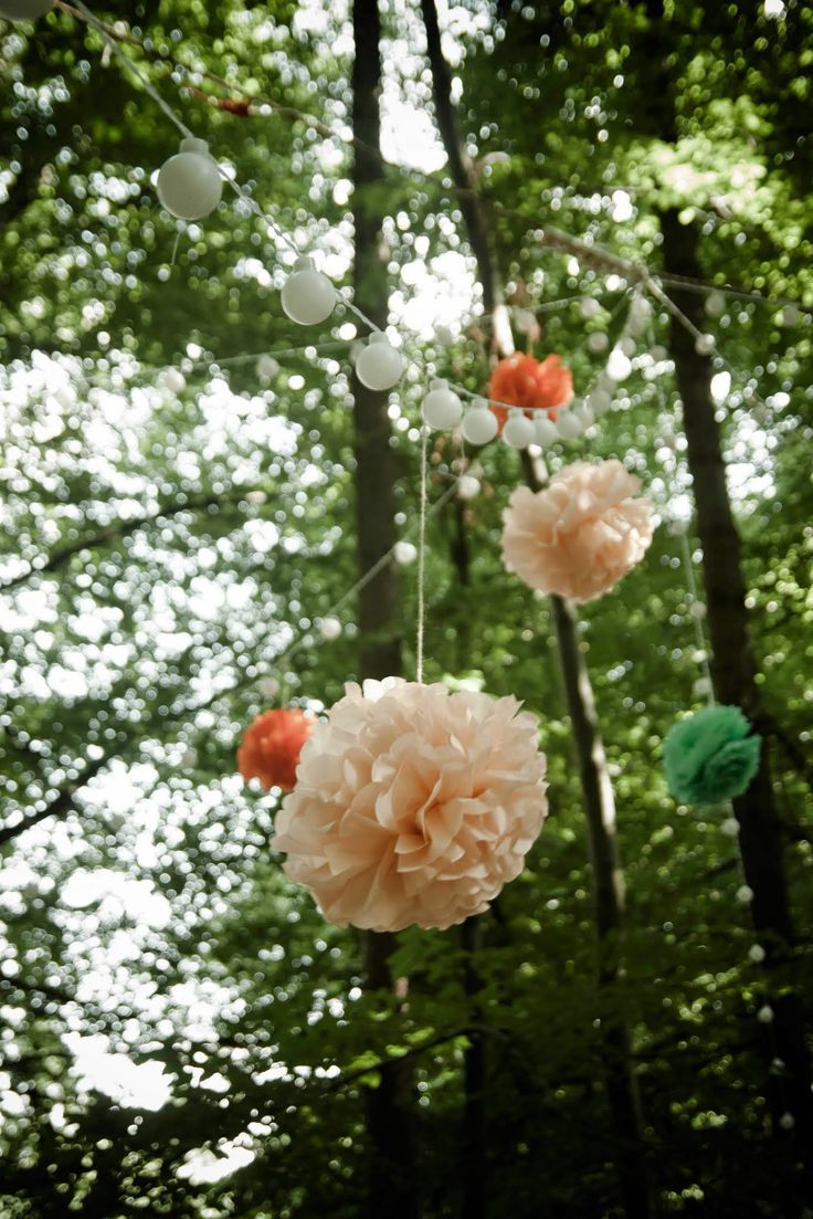 pompons, forest, lampions