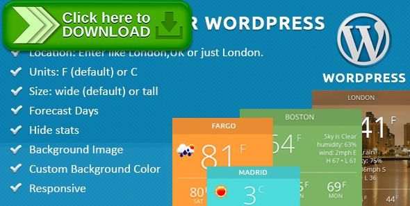 [ThemeForest]Free nulled download City Weather for WordPress from http://zippyfile.download/f.php?id=40436 Tags: ecommerce, forecast, forecast plugin, forecast widget, geoip, global, google, local forecast, local weather, OpenWeatherMap, plugin, weather forecasts, weather plugin, weather plugin wordpress, weather wordpress, yahoo weather