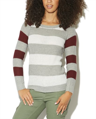 Stripe Raglan Pullover Sweater from Wet Seal
