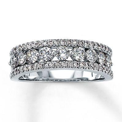 14K White Gold 1 Carat t.w. Diamond Anniversary Ring. Benji better start saving! 10 year anniversary present in 3 years!