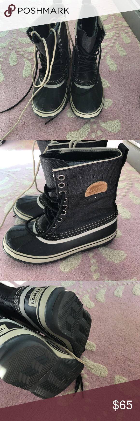 Sorel Winter Boots Black Sorel Winter Boots with wool liner! Worn twice! Includes both Black and Cream Laces! Sorel Shoes Winter & Rain Boots