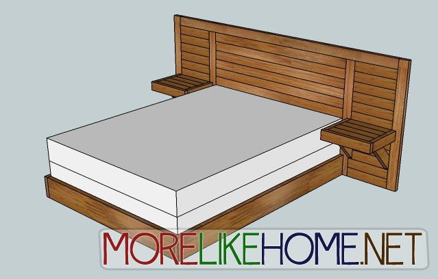 Build a Simple Modern Headboard with built-in nightstands. Tutorial step by step