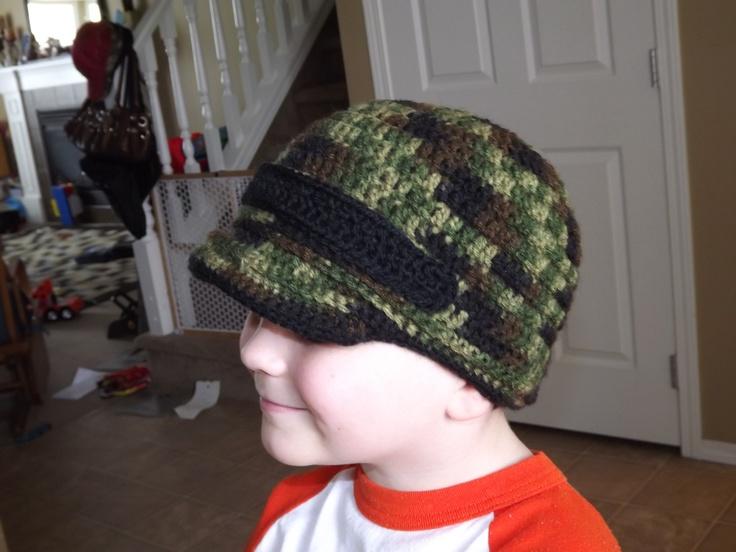 My 5 yr old modeling my new camo newsboy cap!