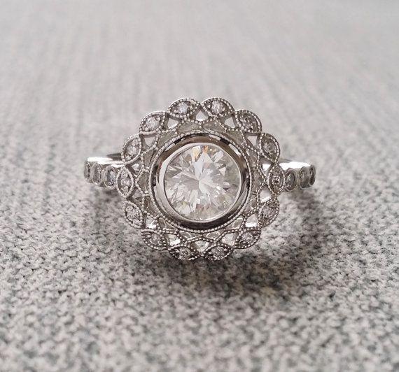 "Bezel Set 1 carat Moissanite and Diamond Ballerina Antique Engagement Ring Gemstone Flower Filigree Round Platinum Vintage ""The Mae"""