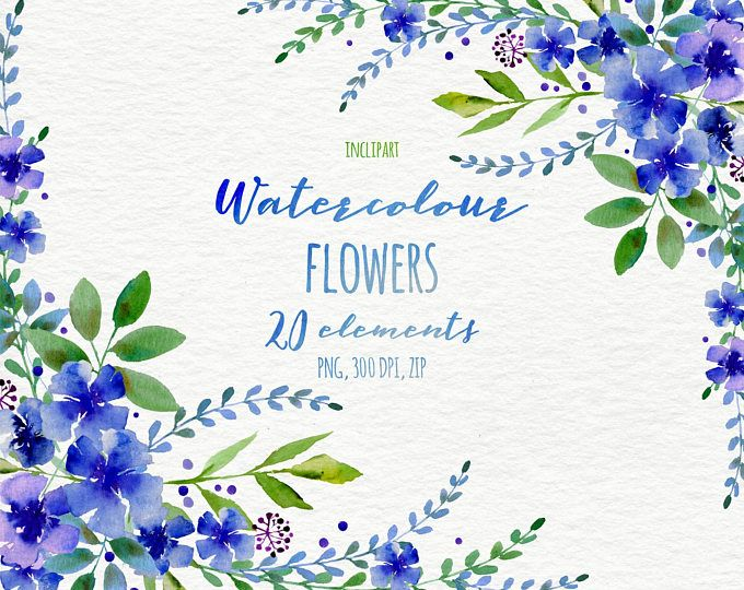Watercolor Floral Clipart Roses Wreath Corner Garland Clip Art