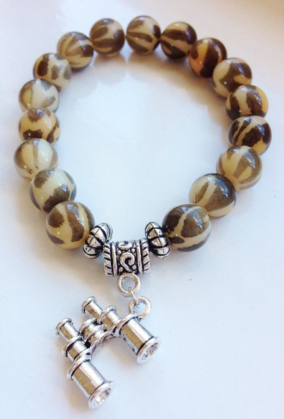 Out on Safari!! Binocular Charm Stacking Bracelet by ElizaSophieDesigns on Etsy