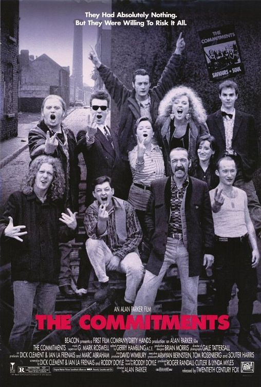 "The Commitments.  Brilliant book trilogy too.  Jimmy auditions unimpressive musicians all day:  Smiths' Song Singer: [singing] ""I was happy in the haze of a drunken hour, but heaven knows I'm miserable now...""  Jimmy Rabbitte: ""Yeah, I know how you feel."""