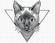 Image result for geometric cat tattoo