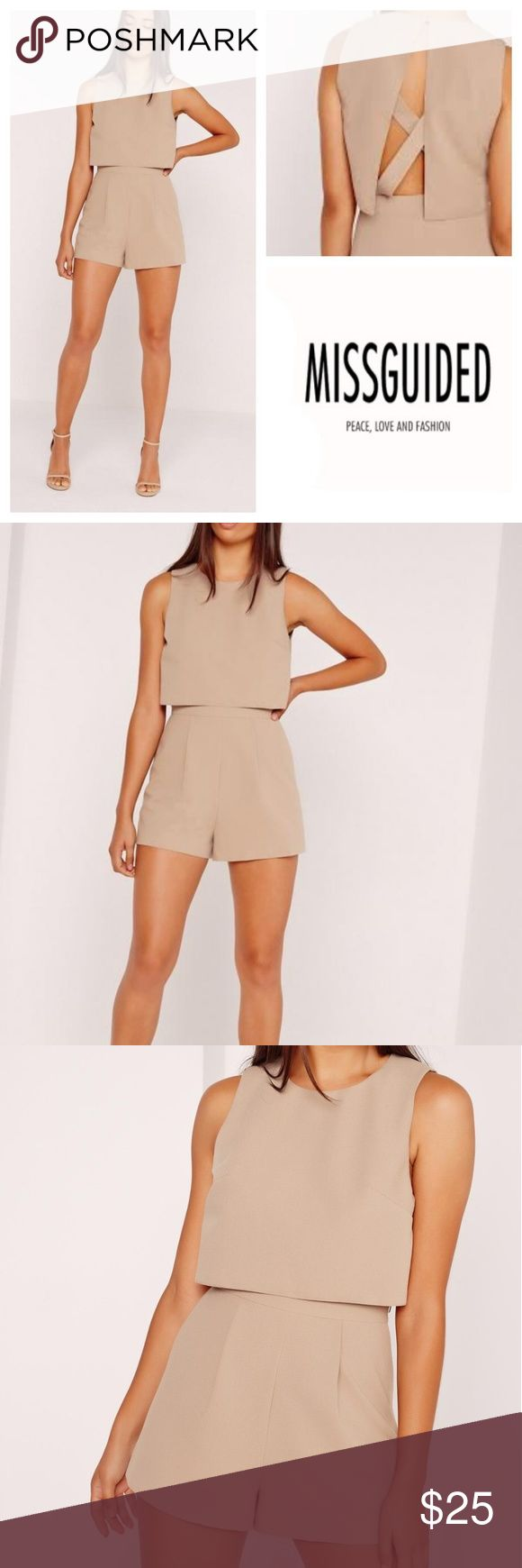"""Missguided Crepe Double Layer Playsuit simple, effective and oh so chic, this beaut little playsuit packs a serious punch. in a camel brown tone, overlay style and cross back detail, this all in one scores some serious style points and is the perfect all rounder for any occassion. business at the front, party at the back.   80% polyester 4% elastane 16% viscose  New with tags. Size US 2 Bust 17""""  Waist 12.5"""" Length 27.5"""" Inseam 2"""" Missguided Pants Jumpsuits & Rompers"""