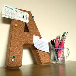 Cork Board Covered Cardboard Letter and 5 other unique ways to design cardboard letters!