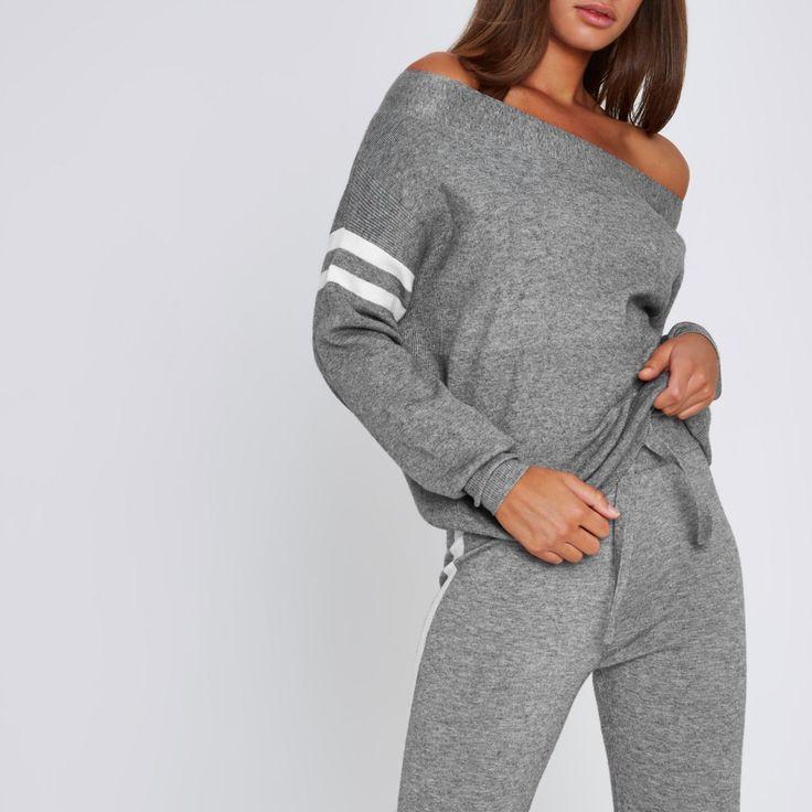 Grey stripe sleeve knitted bardot top - Knitted Tops - Knitwear - women