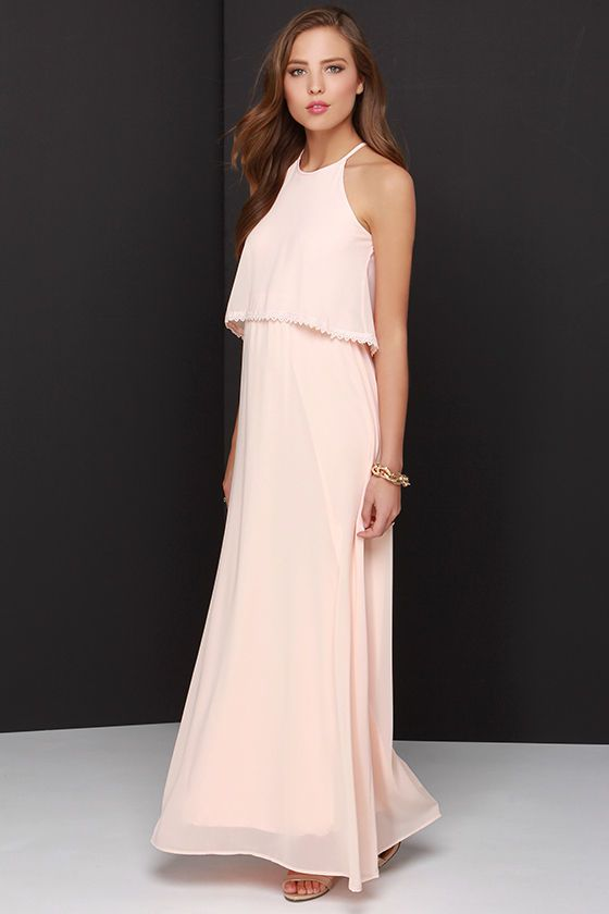 Lulus Exclusive! Your best look is yet to come, with a day or night spent in the Dee Elle Hue Are Lovely Peach Lace Maxi Dress! Woven poly Georgette forms a high, halter neckline and fluttering flounce (with crocheted lace trim), that falls over the fitted waist of this stunning dress. The dreamy maxi skirt completes this elegant ensemble. Fully lined. Back keyhole has top button closure. 100% Polyester. Hand Wash Cold.