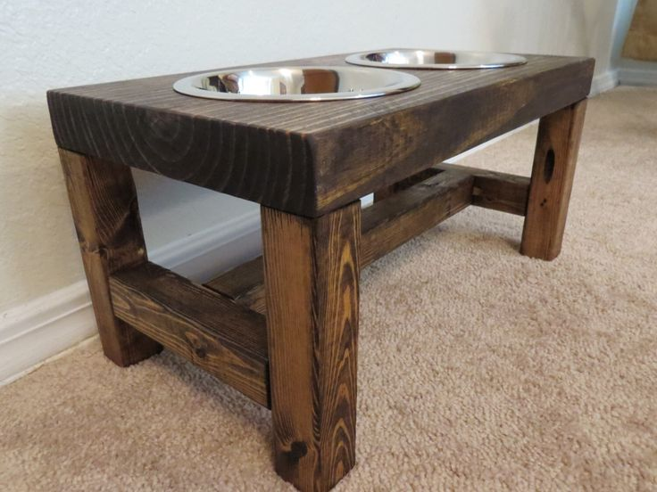 Dog Bowl Feeder - Medium Dog Feeder - Farmhouse Style - Rustic Dog Bowl - Raised Dog Bowl Feeder - Elevated Dog Feeder - Medium Dog Bowl by TheBarnwoodBarge on Etsy https://www.etsy.com/listing/476896963/dog-bowl-feeder-medium-dog-feeder