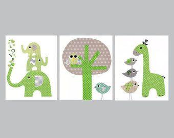 Olifant kleurrijke dier kwekerij illustraties door 3000yardsofthread