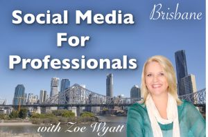Social Media For Professionals Training Brisbane With Zoe Wyatt September 10th-12th, 2014. In it's 4th year the Social Media Professionals Ultimate Bootcamp has this year been extended to include a 1 Day Social Media Professionals Masterclass. Details here: http://socialmediashortcut.com/social-media-for-professionals-bootcamp-and-masterclass-brisbane-10-12-september-2014/