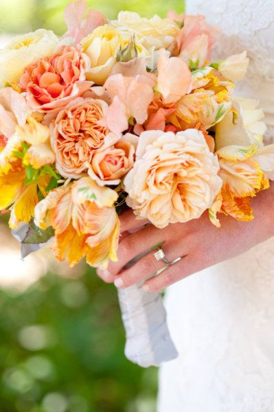 291 best images about peach wedding peach and cream on pinterest - Garden rose bouquet ...