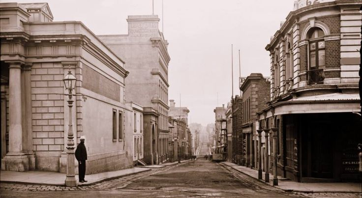 Corner Little Collins St and Queen St, Melbourne, taken in the 1870s