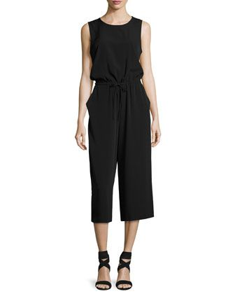 Shilah Sleeveless Crepe Jumpsuit, Black by CeCe by Cynthia Steffe at Neiman Marcus Last Call.