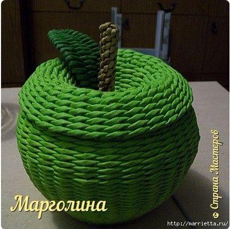Яблоко - шкатулка из газет. Как сплести крышку (456x451, 166Kb)